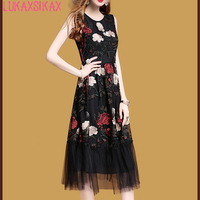 LUKAXSIKAX FASHION 2018 Women Summer Dress High Quality Retro Flowers Embroidery Black Mesh Runway Dress Luxury Party Dresses
