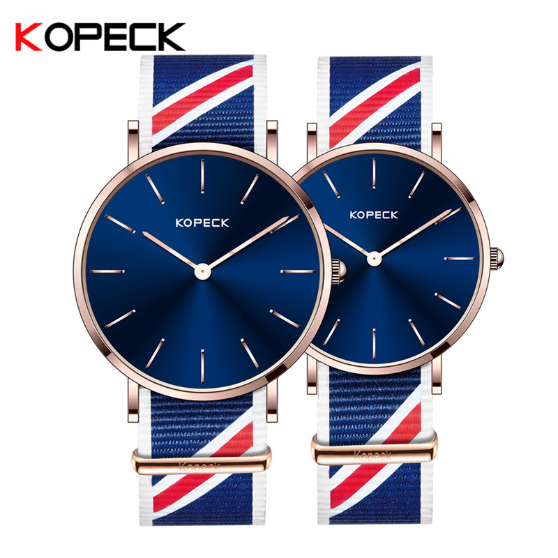 Kopeck Quartz Watch Lovers Watches Women Men Couple Watch Simple Waterproof Nylon Strap 6mm Super Slim Wristwatches Pary Tabela keep in touch couple watches for lovers luminous luxury quartz men and women lover watch fashion calendar dress wristwatches