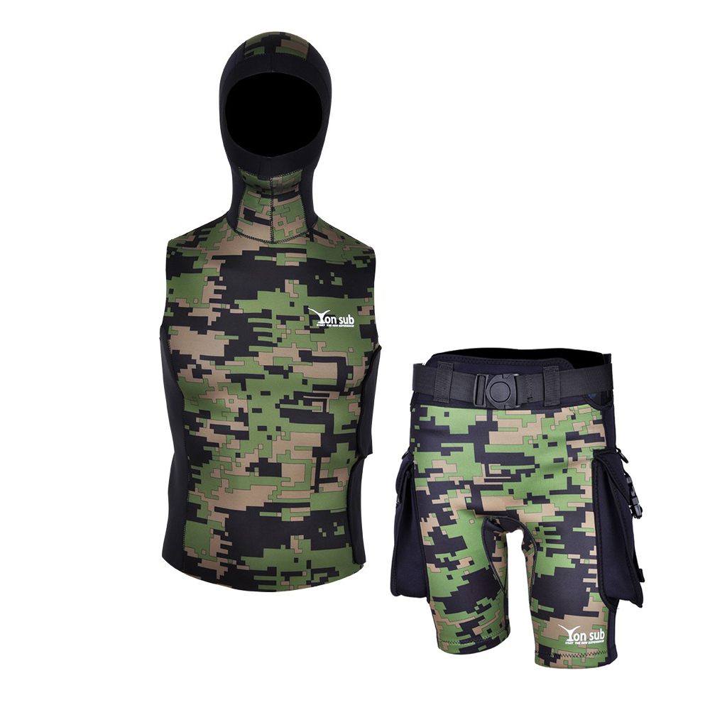 Yonsub adult 2 5mm camo wetsuit vest hooded Sleeveless Neoprene Wetsuits Top pant SCUBA Surf Snorkeling