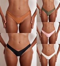 black V shape sexy Brazilian bikini bottom women swimwear swimsuit trunk tanga micro briefs Panties Underwear