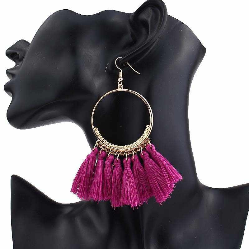 W stylu Vintage kobiet Big komunikat Tassel spadek kolczyki dla dziewczyny okrągły długi dynda kolczyki czeski 2019 moda biżuteria