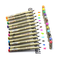 12 Colors 1 5mm Brush Color Needle Fine Line Drawing Pen Pigma Manga Anime Markers Pen