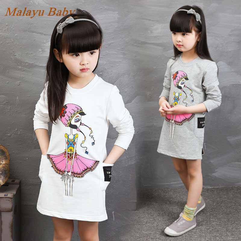 Malayu Baby New fall 2016 European & American girls shirt, girl cartoon printed mini dress, round neck long-sleeved cotton children s new spring and autumn cotton stripes round neck suit thin section long sleeved jacket girl dress baby girls dress