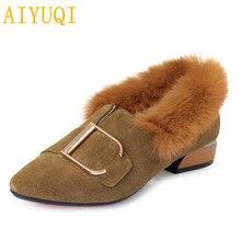 Купить с кэшбэком AIYUQI Women shoes 2019 spring new genuine leather women shoes casual rabbit fur fashion pointed cozy dress shoes women