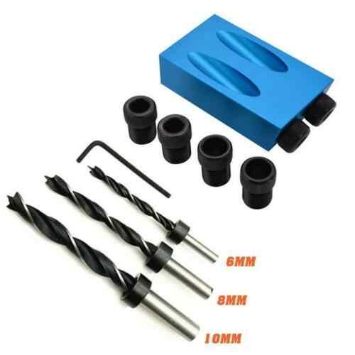 14Pcs כפולה כיס חור לנענע ערכת 6/8/10mm 15 זווית מתאם עבור נגרות מדריך