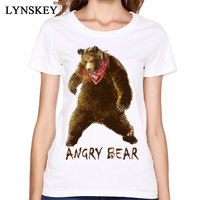 Cartoon T Shirts 3D Printed 100 Cotton Tops Tees High Quality Never Fade Angry Bear Leisure