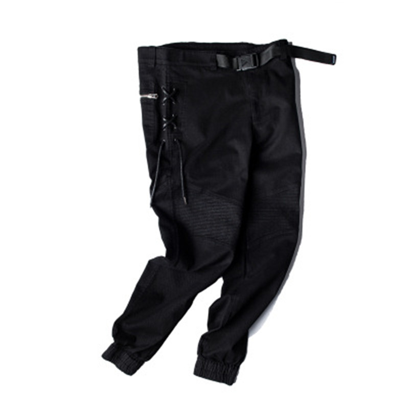 Men Black Feet Cargo Pants Hip Hop Side Weave Spliced Lace-Up Joggers Pants 2018 Casual Cotton Zipper Pocket Slim Fit Trousers
