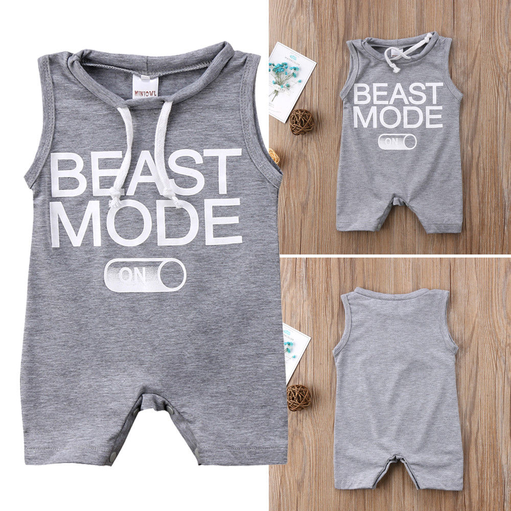 Kids Baby Boy BEAST MODE ON Printed Romper Loose Jumpsuit Outfits Clothes Summer