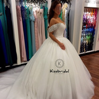 Gorgeous Pricess Wedding Dresses Ball Gown 2018 beading Off the Shoulder Tulle Bride Wedding Gowns
