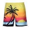 Г-н BaoLong & Miss. GO Лето Мужчины 3D восход Пейзаж пляж Кокосовые пальмы печати Доска Шорты Дышащая комфортно тенденция шорты