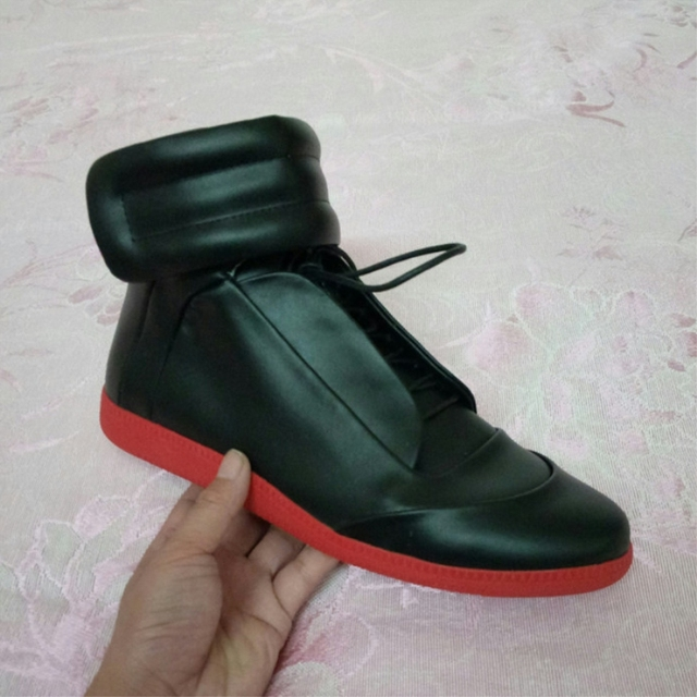 Марка мужская обувь натуральная кожа высокого топ Узелок Крюк & Loop Лодыжки мода повседневная квартиры мужчины обувь размер 38-47