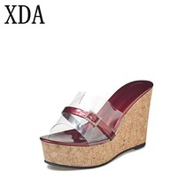 c99c4cac44ae XDA 2018 Summer New style Arrived Sexy Transparent Platform Wedges Sandals  Women Fashion High Heels Female