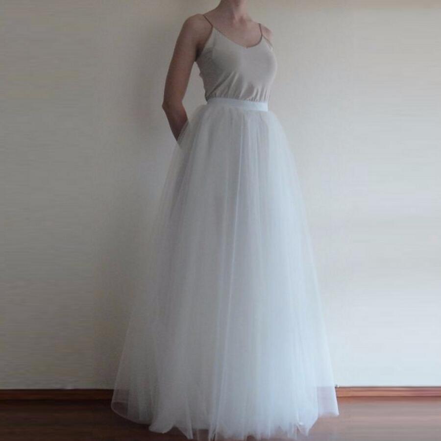390d123dd244e جودة عالية نقية بيضاء تول تنورة شخصية ألف خط الطابق طول كامل طول تنورة  بسيطة الكلاسيكية طويل ماكسي التنانير النساء