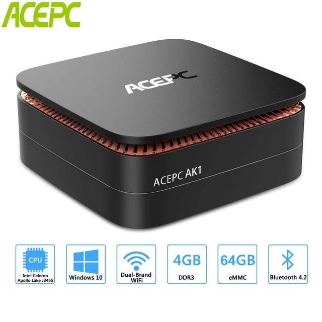 ACEPC AK1 Мини ПК Windows 10 Мини компьютер Intel Celeron J3455 4G 64G 2,5 дюймов SSD/mSATA WiFi 4 K linux мини windows PC