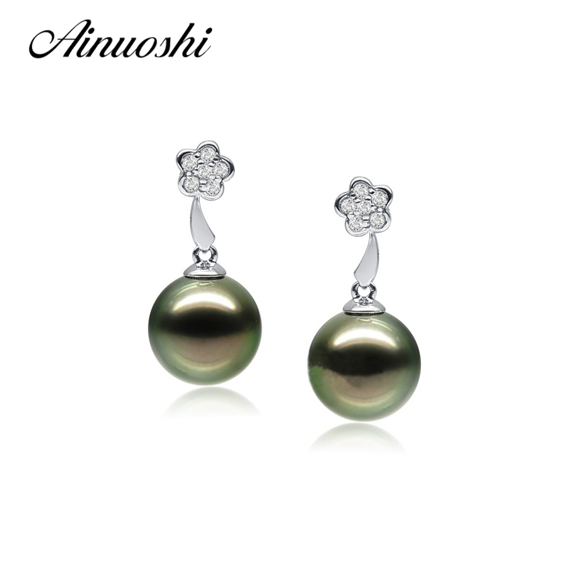 AINUOSHI 925 Sterling Silver Flower Shaped Pearl Drop Earrings 10 10.5mm Round Pearl Natural Tahitian Black Pearls Drop Earrings