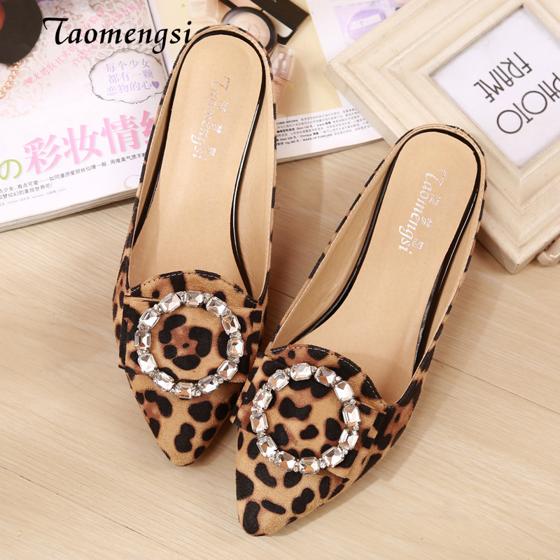 Taomengsi Womens Shoes 2018 Diamond Leopard Sandals Baotou Lazy Slippers Pointed Wrapping Flat