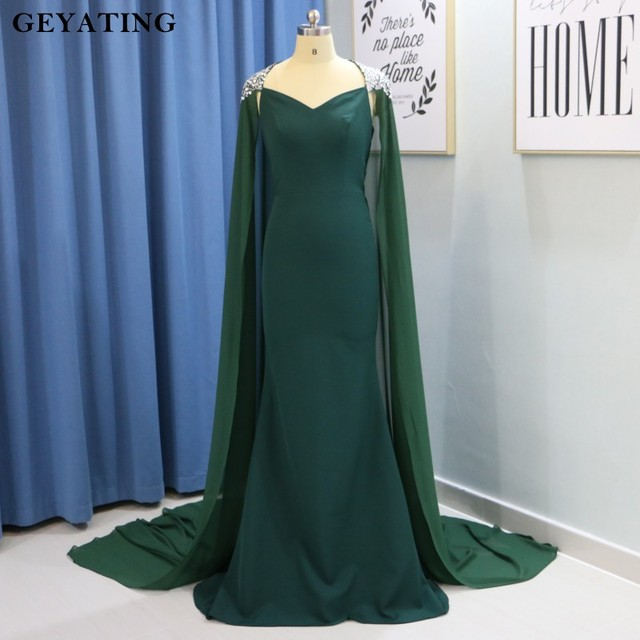 Emerald Green Long Mermaid Arabic Evening Dress with Cape Beaded Crystal  Dubai Prom Dresses 2018 Robe de Soriee Formal Gowns dcbb347960b8