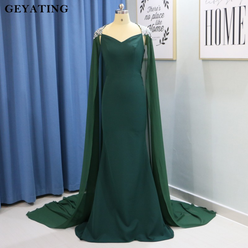 Emerald Green Long Mermaid Arabic   Evening     Dress   with Cape Beaded Crystal Dubai Prom   Dresses   2019 Robe de Soriee Formal Gowns