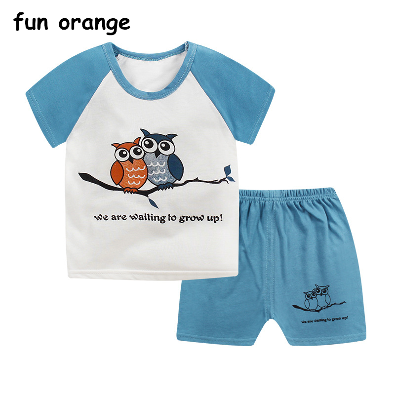 8d0844ace6f Aliexpress.com   Buy Fun Orange Kids Clothes Set Boys Summer Clothes  Toddler Clothing Baby Boy Girls t shirt Set Summer Pajamas for Toddler from  Reliable ...