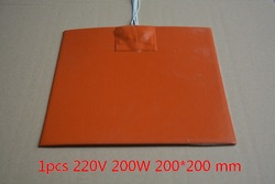 Silicone heating pad heater 220V 200W 200mmx200mm for 3d printer heat bed 1pcs