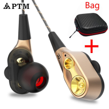 PTM Earphone Gaming Headset Double Unit Drive Subwoofer Headphones for phone Ipod DJ mp3 Sport Earphones Earbuds auriculares