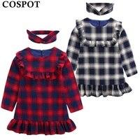 COSPOT 2018 New Girls Dress Cotton Plaid Long Sleeved Baby Girl Clothes Casual Princess Dresses 2Pcs