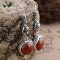 Натуральный Красный Агат Серьги Стерлингового Серебра 925 Колошения Женщин Винтаж S925 Тайский Серебро букле d'oreille Серьги