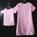 Марка розовый твердые плиссированной/прямогонного длинное цветочные дети платье мать дочь юбки семьи матч одежда мать и девочек платья
