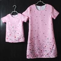 Abbigliamento per bambini di marca set pieghettato lungo rosa floreale madre figlia abito corrispondenza famiglia abbigliamento madre e bambini vestiti dalla ragazza