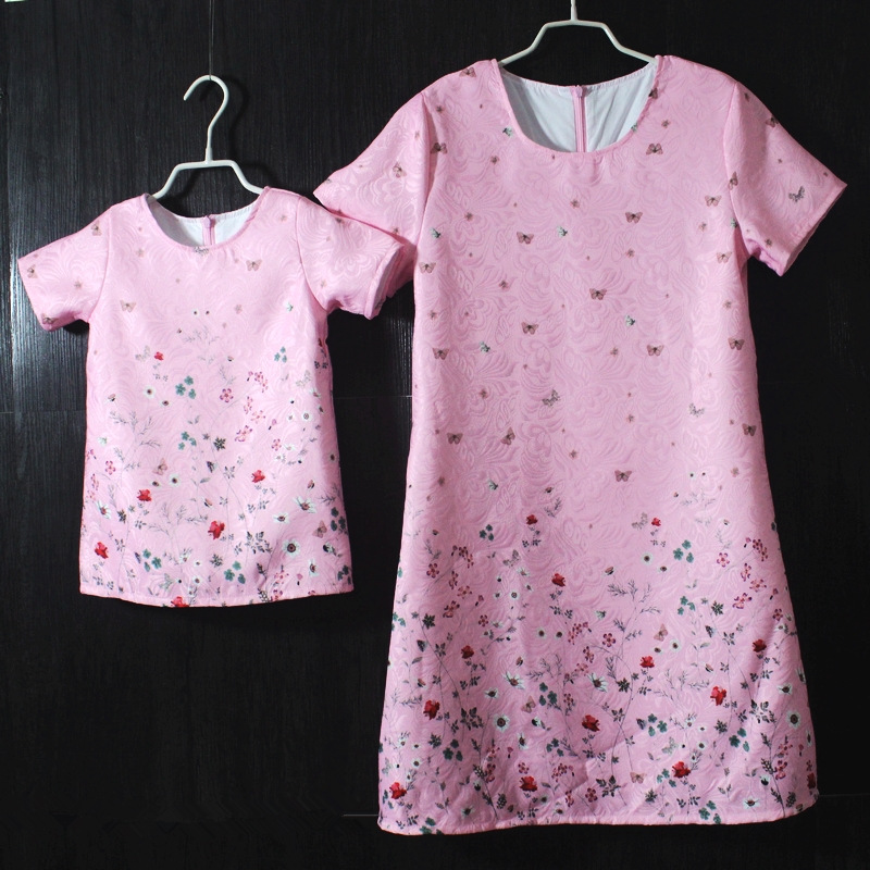 Brand children clothing set pleated long pink floral mother daughter dress family matching clothes mother and  kids girl dresses