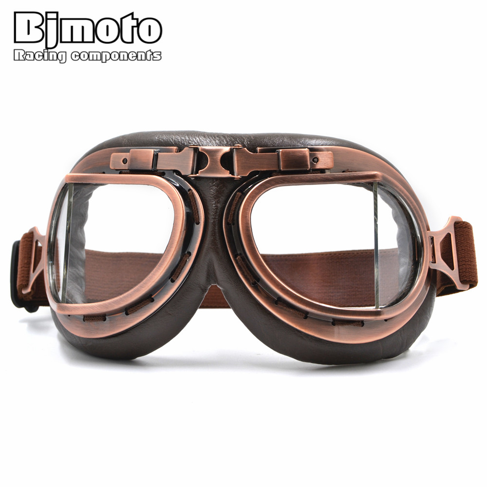 GT-012 Motocross Helmet Goggles Glasses With Clear Lens Vintage Copper Scooter Pilot Biker Leather For Cafe Racer Dirt Bike