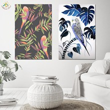 Nordic Poster Colorful Art Plant Bird Painting Wall Canvas Scroll Modern Pictures for Living Room