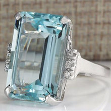 Luxury Created Blue Zircon Crystal Ring Genuine Silver Color Ring For Fashion Women(China)