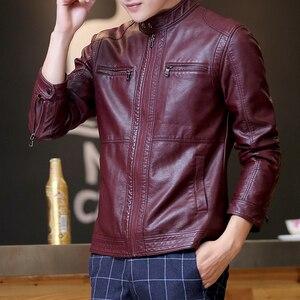 Image 3 - Mountainskin 5XL ชายเสื้อแจ็คเก็ตหนังผู้ชาย Stand Collar Coats ชายรถจักรยานยนต์หนังแจ็คเก็ต Casual Slim แบรนด์เสื้อผ้า SA010