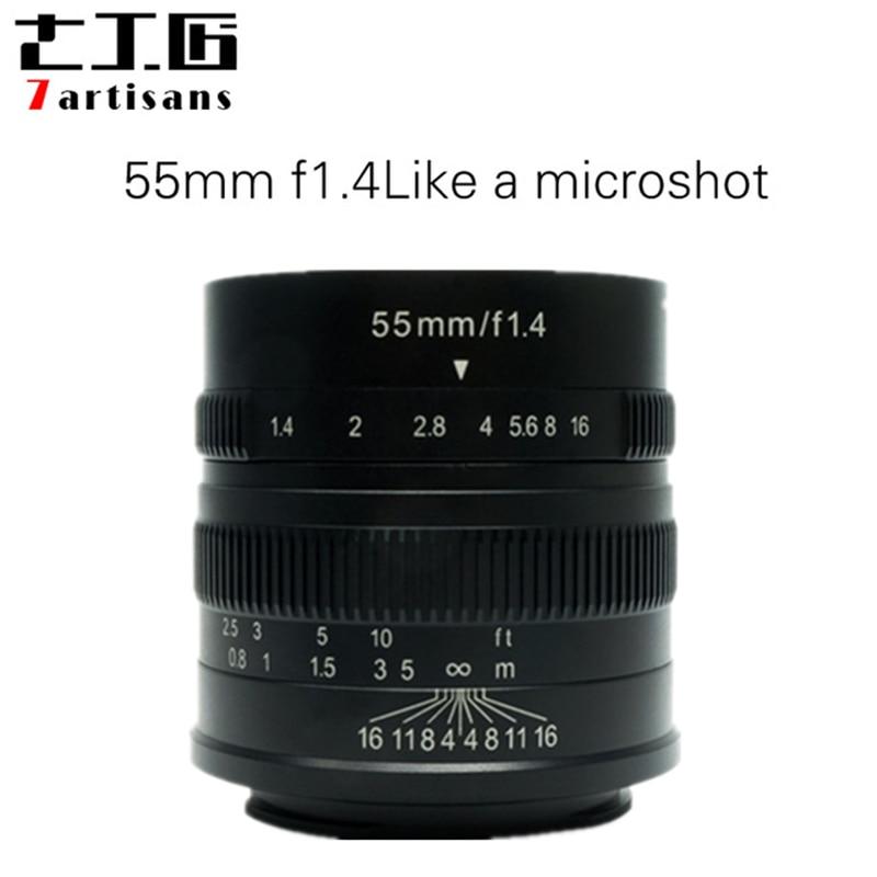 7 artisans 55mm F1.4 Grande Ouverture Portrait Mise Au Point Manuelle Micro Camera Lens Fit pour Canon eos-m Montage E-Mont Fuji FX-Montant