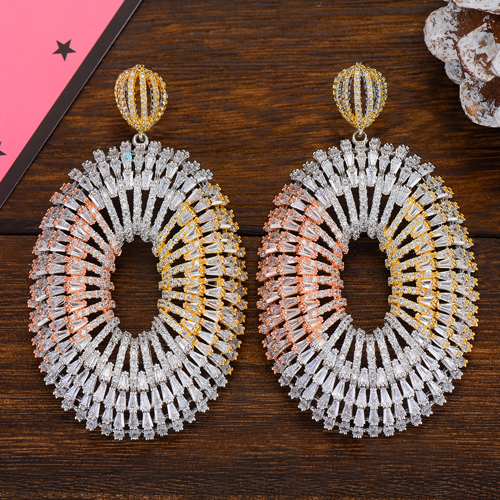 missvikki Luxury Gorgeous CZ Pendant Earrings femme Oval Pendant Earrings for Women Bridal Wedding Engagement Show