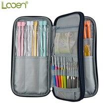Empty Crochet Hook Bag Storage Looen Dark Blue Pouch Knitting Kit Case Organizer For Sewing Needles Scissors Ruler