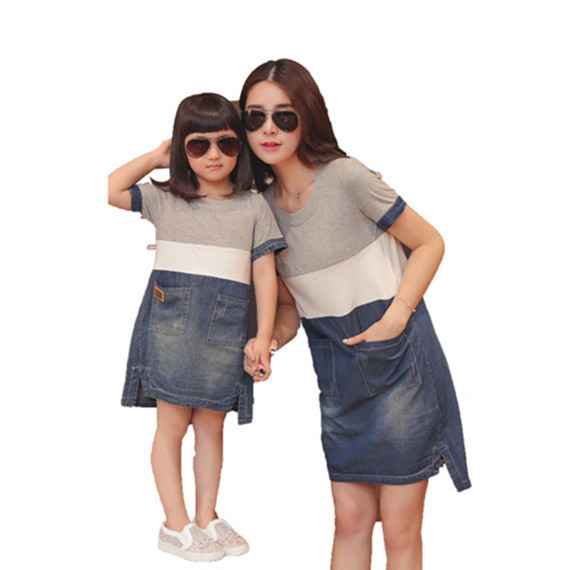 2016 Summer Style Mother Daughter Matching Dresses Mommy And Me Clothes Women Grey White Blue Denim Patchwork Casual Loose Dress