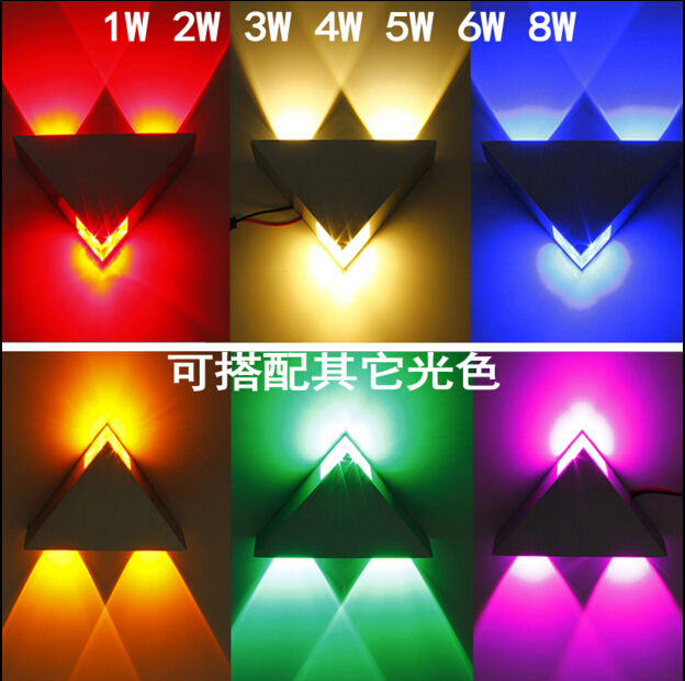 Rising Star 3W Aluminum Triangle led wall lamp 85 265V high power wall light Modern for