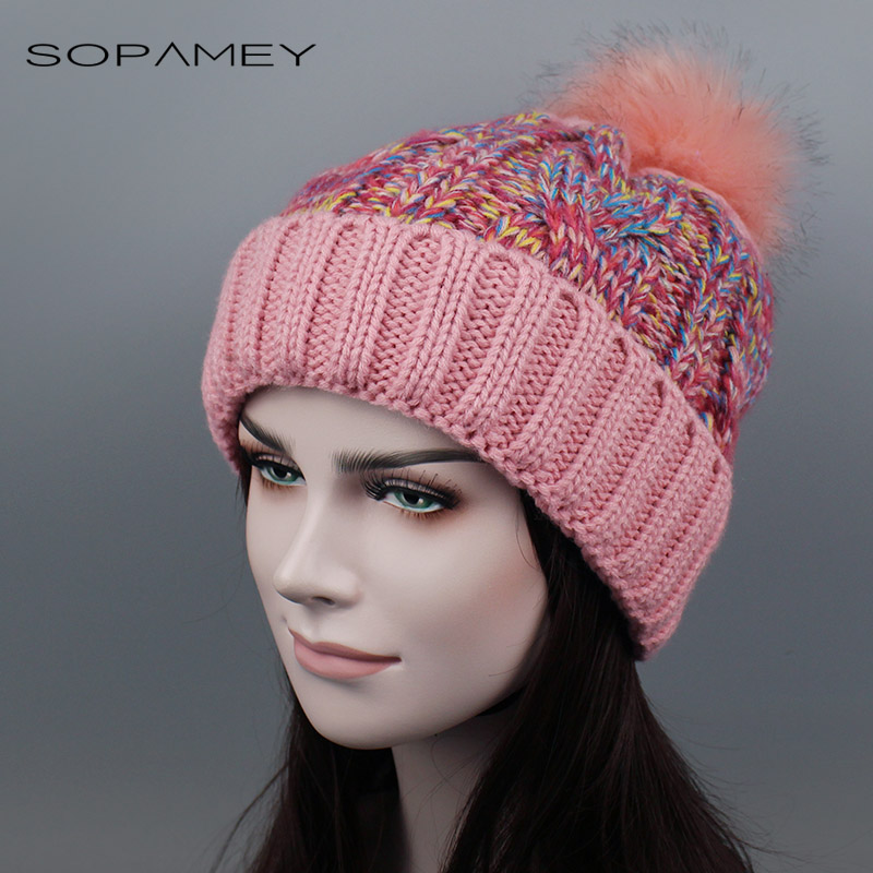 Winter Hats for Women Pompom Casual Hip Hop Knitted Warm Hat Female Beanies 2017 New Fashion Skullies Pom Poms Girls Hat 2017 цены онлайн