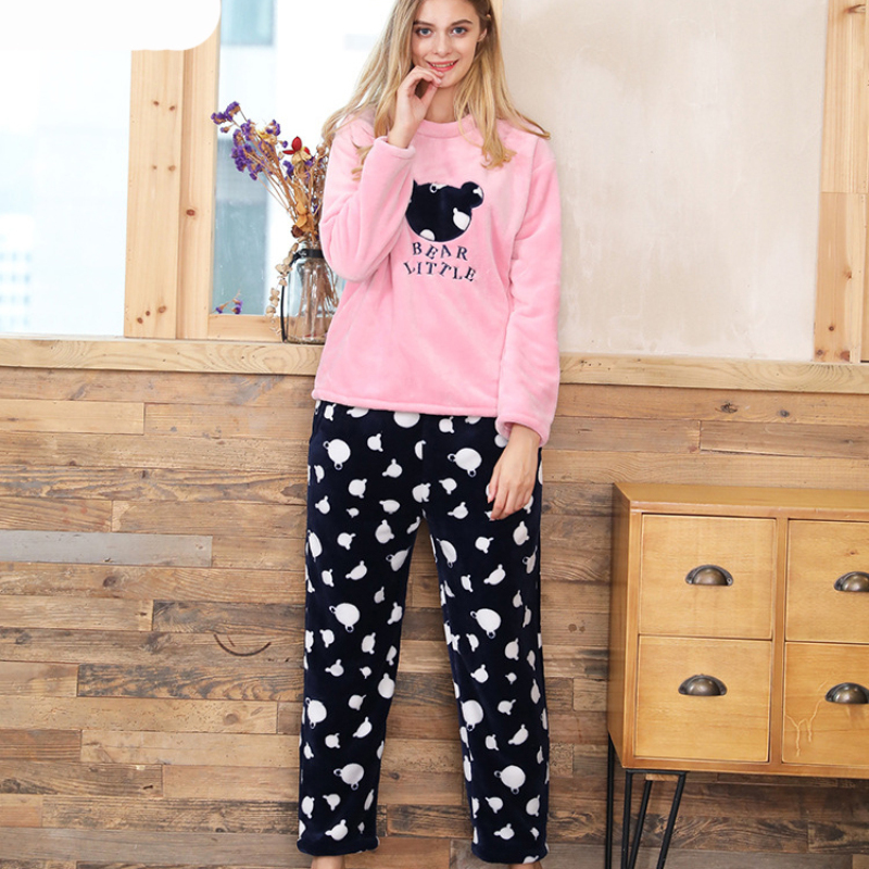 SSH0108 New Fashion Long Sleeves Women   Pajama   High Quality Flannel Blouse and Pants Winter   Pajama     Sets   Cute Cartoon Nightwear