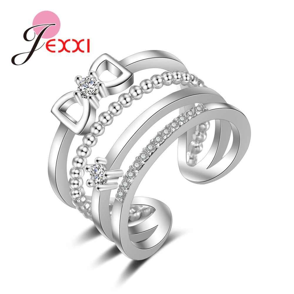 925 เงินสเตอร์ลิงแหวนเปิดยุโรปอเมริกันสไตล์คริสตัล Zircon แหวนเครื่องประดับคริสตัลขนาดเล็ก
