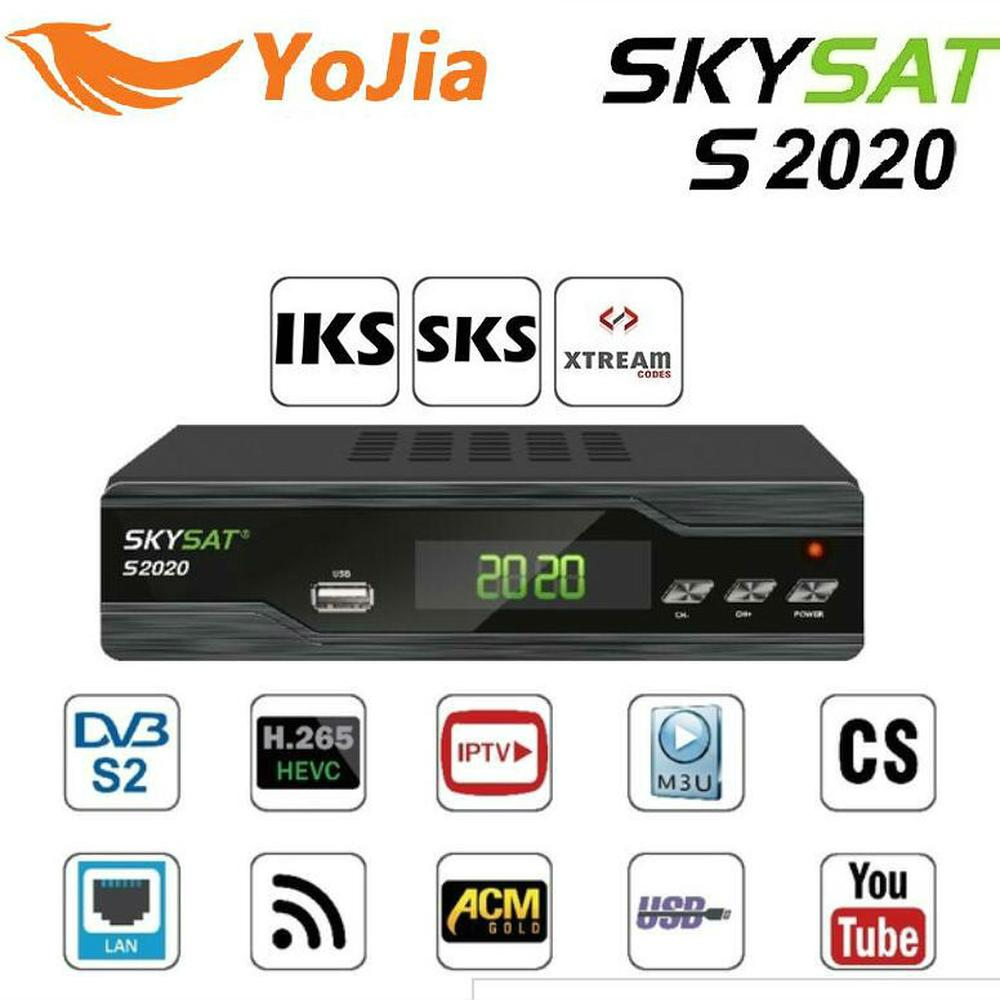 SKYSAT S2020 Twin-Tuner Satelliten-receiver IKS SKS ACM H.265 Xtream TV M3U PowerVu stabile server Volle HD Kanäle DVB-S2 TVBox