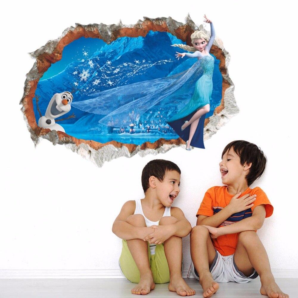 3D Fonds D'écran Congelés Elsa Olaf Filles Chambre Princesse Stickers Muraux Creative Chambre Salon Peintures Murales Décoratives