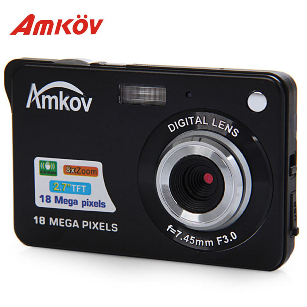 Amkov CDC3 2.7 Inch Digital Camera TFT HD Screen 18.0MP CMOS 3.0MP Anti-shake 1080P Digital Video Camera with 8X Digital Zoom
