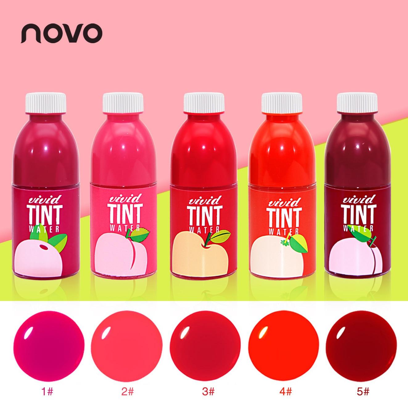 NOVO relógio Marca 5 Cores Fruit Manchado Gloss Copo Maquiagem Batom Líquido À Prova D' Água de Longa Duração Não-Stick de Fruta Doce tonalidade Lábio vermelho
