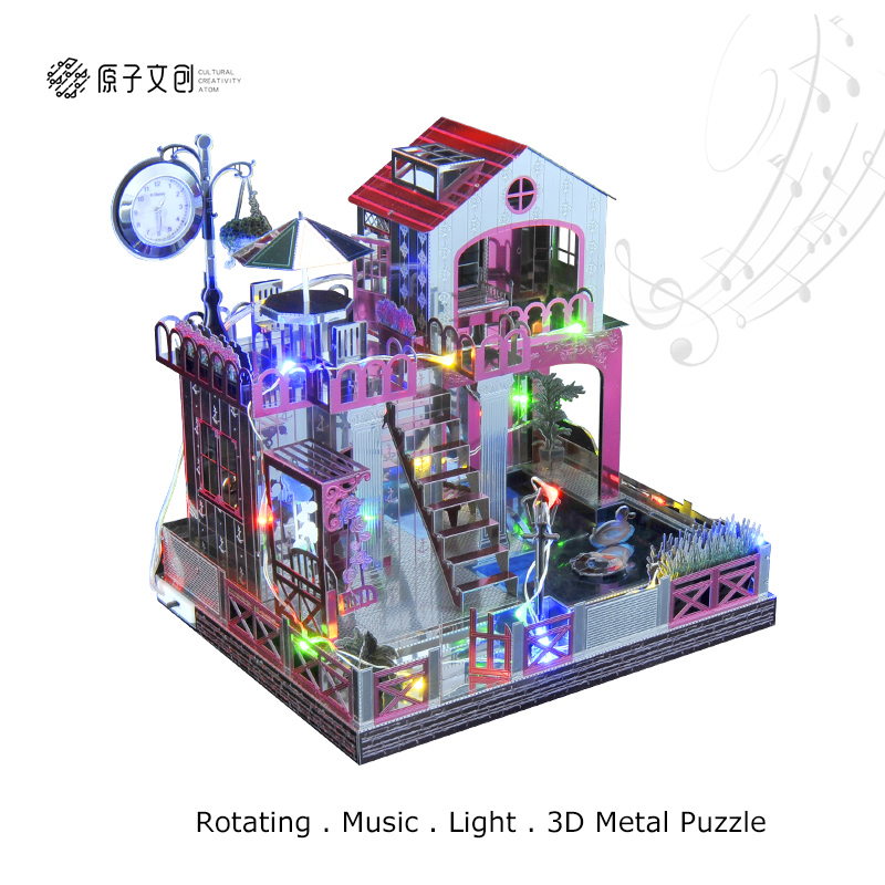 Love Building Theme Music Box 3D DIY Metal Puzzle Classic Home Decor with Time Clock Assembly Toy Christmas Gift Birthday Gift