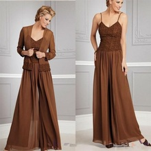 Chiffon Long Sleeve Mother of the Bride Dresses Pants Suits with Jacket Evening Gowns Mother Groom