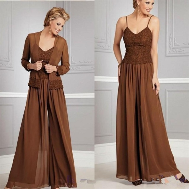 7bcfebae3b5 Chiffon Long Sleeve Mother of the Bride Dresses Pants Suits with Jacket  Evening Gowns Mother Groom