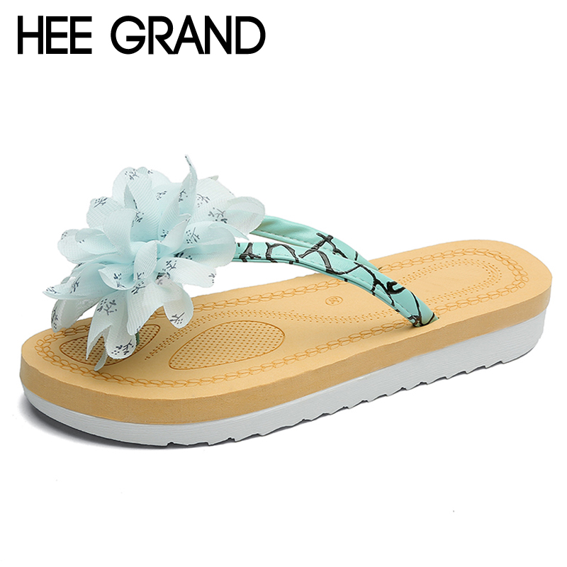 HEE GRAND Floral 2018 Flip Flops Casual Summer Gladiator Slides Beach Slip On Flats Platform Shoes Woman Slippers XWT1039